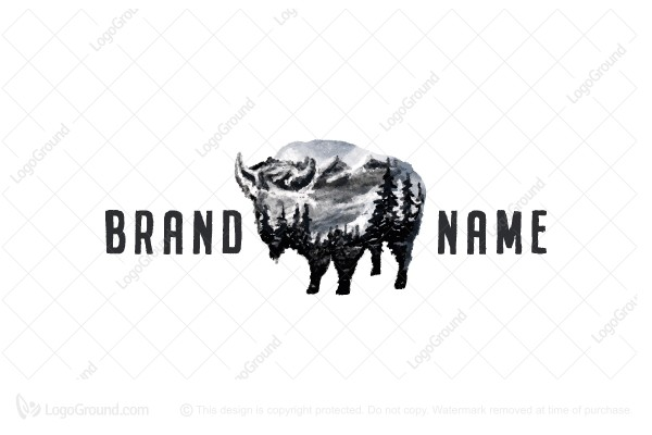 Logo for sale: Watercolor Bison Logo