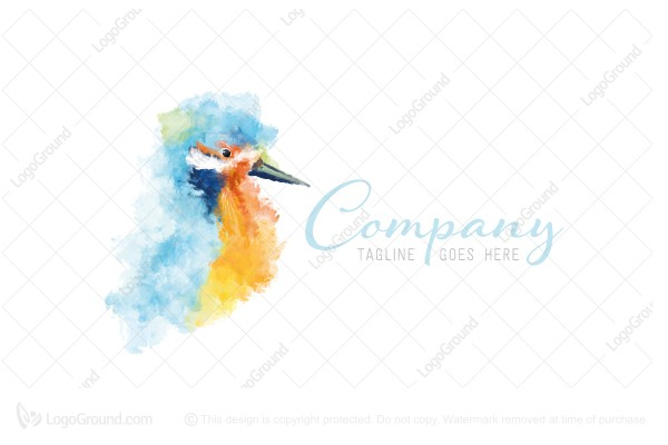 Logo for sale: Watercolor Kingfisher Logo