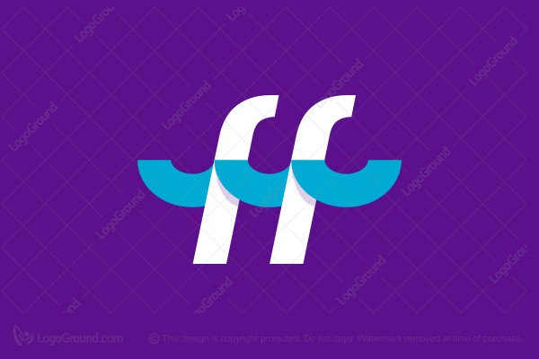 Logo for sale: Double Letter F Ff Monogram With Waves Logo