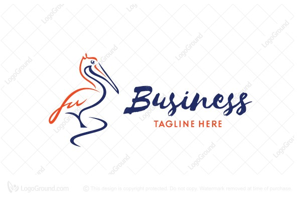 Logo for sale: Pelican Logo Calligraphy Logo