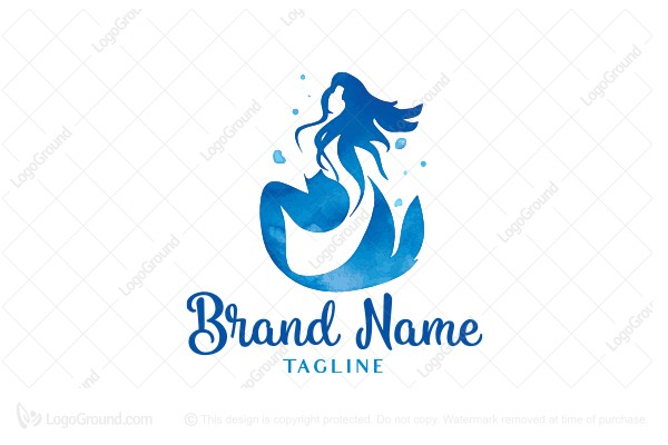 Logo for sale: Abstract Watercolor Mermaid Logo