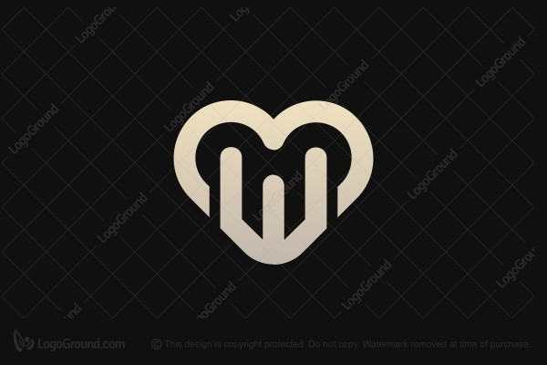 Logo for sale: Luxury Letter Mw And Love Logo
