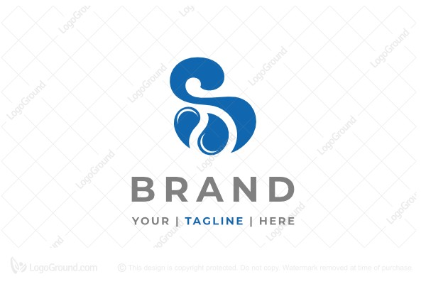Logo for sale: Letter S Water Droplets Logo