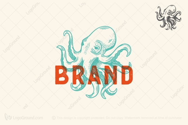 Logo for sale: Vintage Octopus Logo