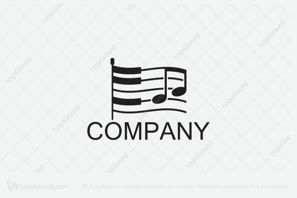 Logo for sale: Piano Music Flag Logo