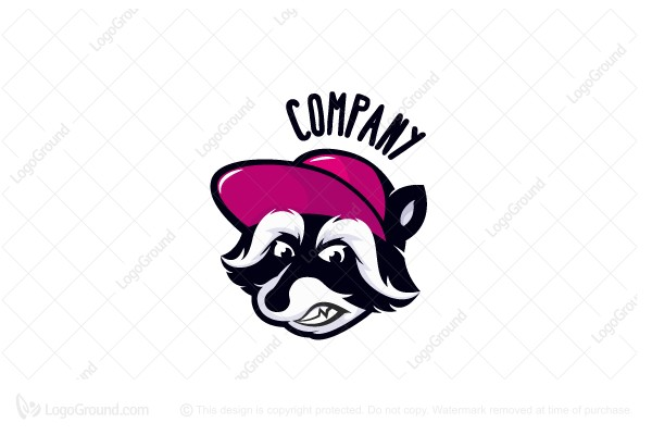 Logo for sale: Angry mascot raccoon logo