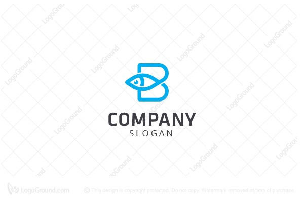 Logo for sale: Fish and Letter B Logo