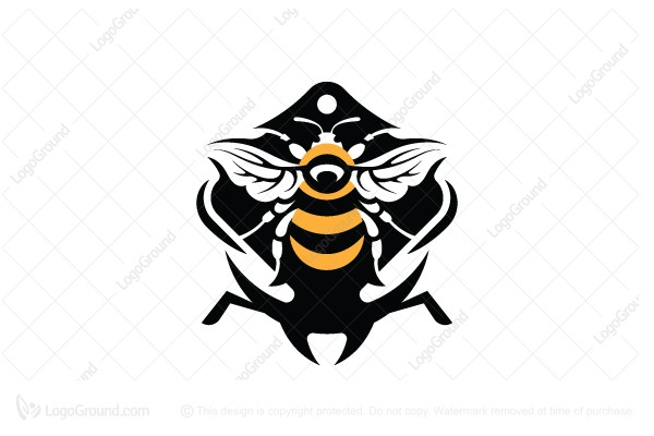 Logo for sale: Bumblebee And Bee Head Logo