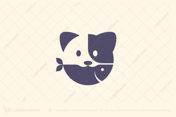 Logo for sale: Cat And Fish Logo