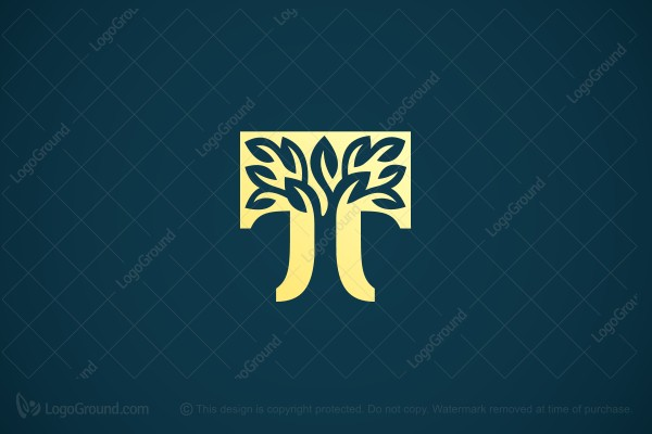 Logo for sale: Golden T Tree Logo