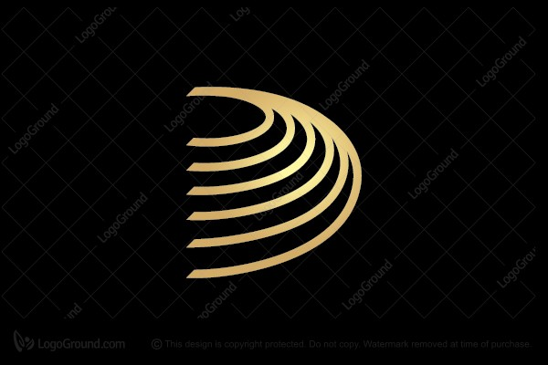 Logo for sale: Letter D Ripples Logo