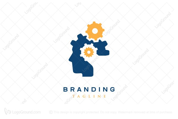 Logo for sale: Geared Head Logo