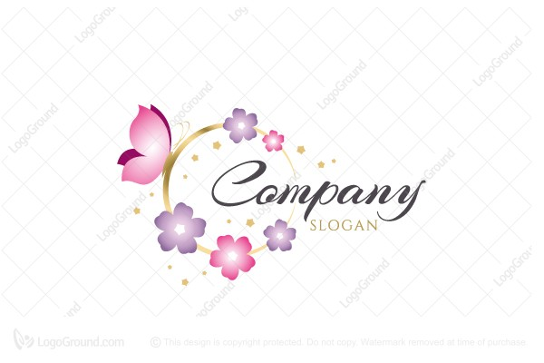 Logo for sale: Butterfly Flower Circle Logo