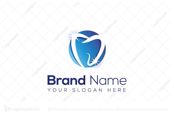 Logo for sale: Sparkling Swoosh Tooth Logo