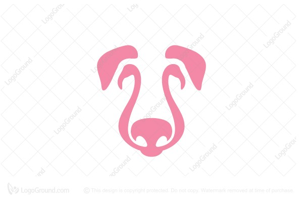 Logo for sale: Dog And Flamingo Logo