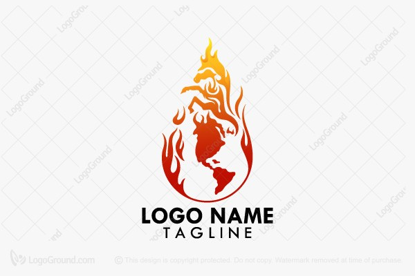 Logo for sale: Fire Horse World Logo