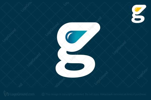 Logo for sale: Letter G Water Drop Logo
