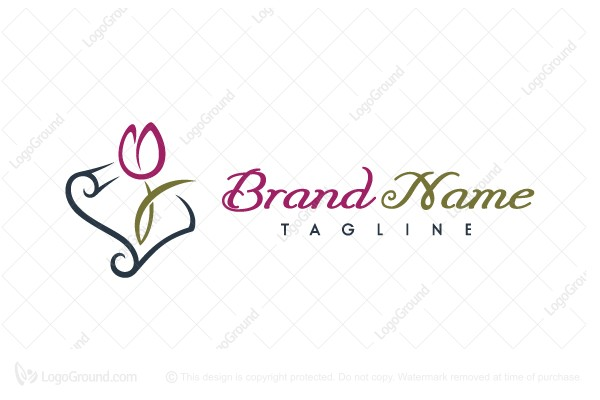 Logo for sale: Calligraphy Tulip Paper Logo