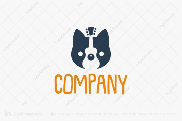 Logo for sale: Cat And Guitar Logo