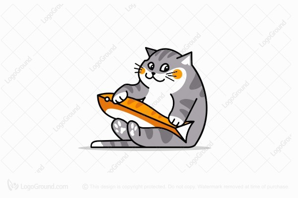 Logo for sale: Fat Cat With Fish Toy Logo