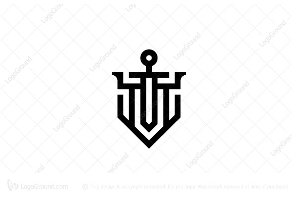 Logo for sale: Abstract Sword And Shield Logo