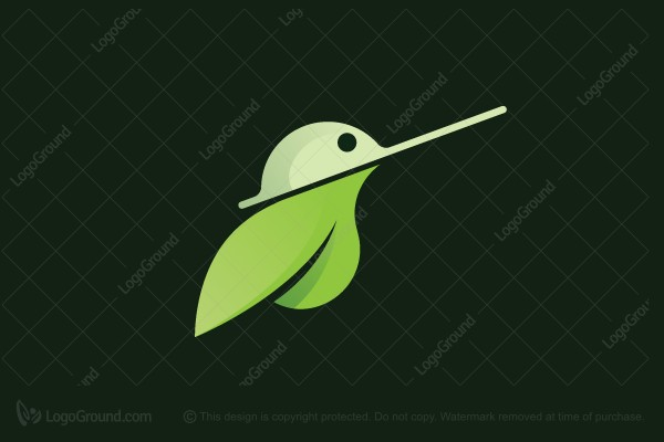Logo for sale: Leaf Hummingbird Logo