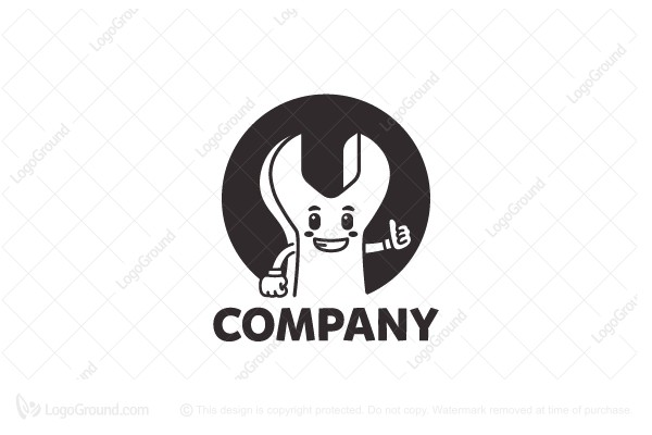 Logo for sale: Wrench Mascot Logo