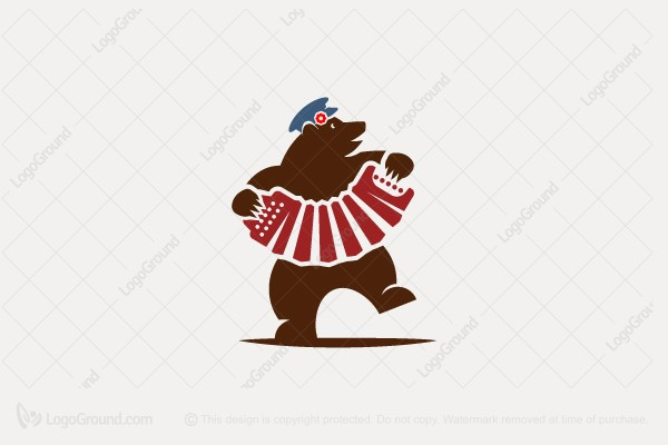 Logo for sale: Bear With An Accordion Logo