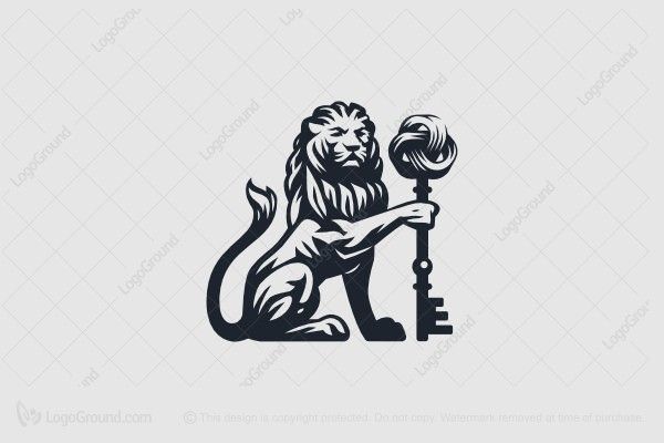 Logo for sale: Lion With The Key Of Infinity Logo