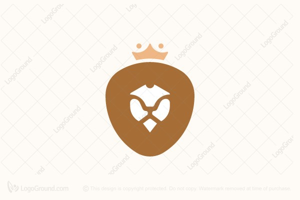 Logo for sale: Chocolate Lion With Royal Crown Logo