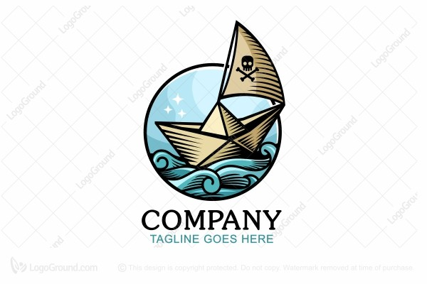 Logo for sale: Pirate Paper Boat Logo