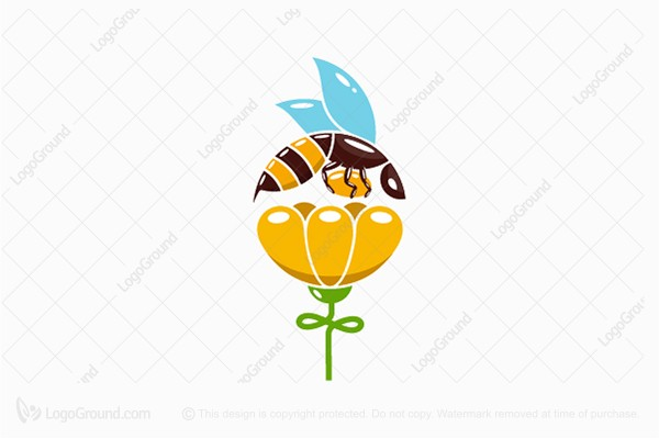Logo for sale: Bee And Flower Logo