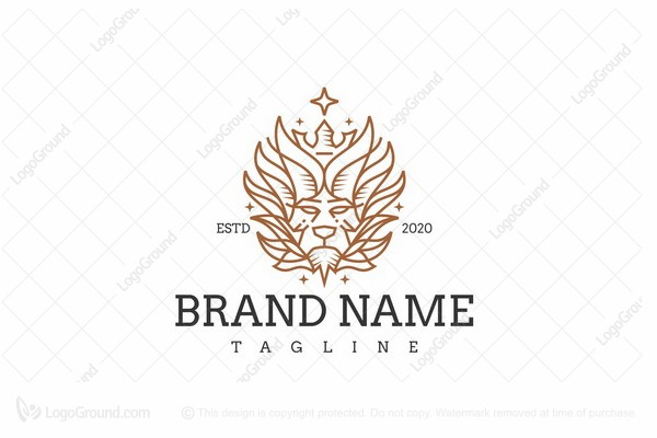 Logo for sale: Lion King Line Art Vintage Logo
