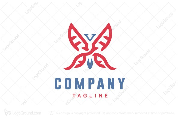 Logo for sale: V Butterfly Logo