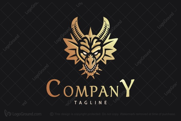 Logo for sale: Golden Dragon Head Logo