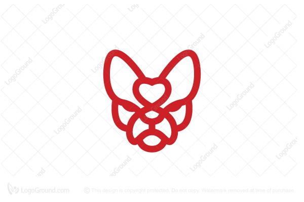Logo for sale: Love French Bulldog Logo