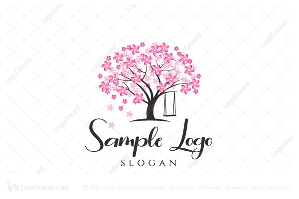Logo for sale: Cherry Tree With Swing Logo