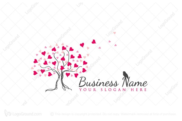 Logo for sale: Heart Tree Blossom Logo