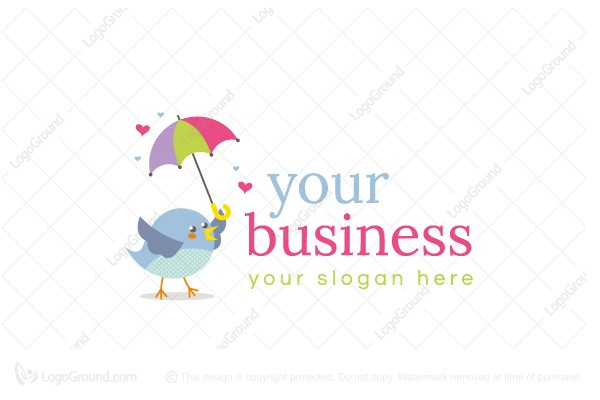 Logo for sale: Little Bird With Umbrella Logo