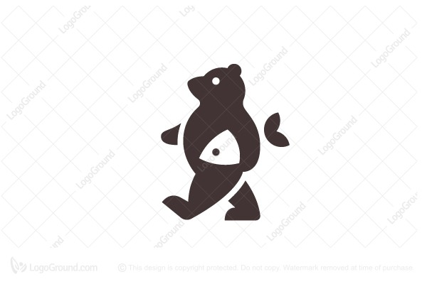 Logo for sale: Bear And Fish Logo