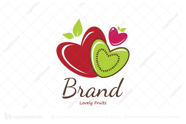 Logo for sale: Lovely Fruits Hearts Logo