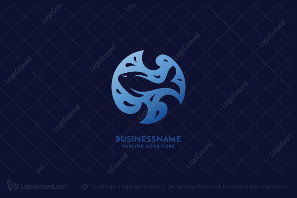 Logo for sale: Happy Fish Swimming Logo