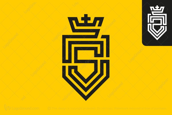 Logo for sale: Letter S (or Z) Labyrinth Crown Shield Logo