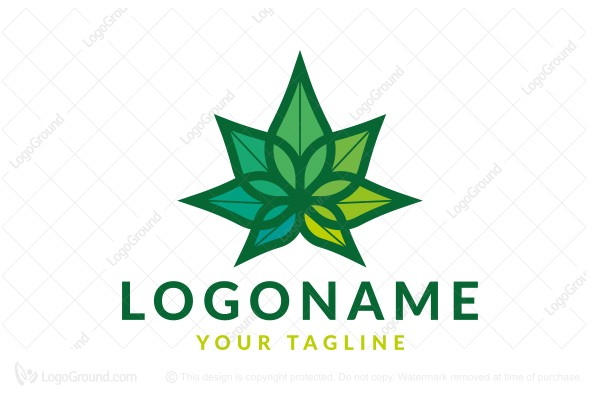 Logo for sale: Cannabis Extract Flower Leaf Logo