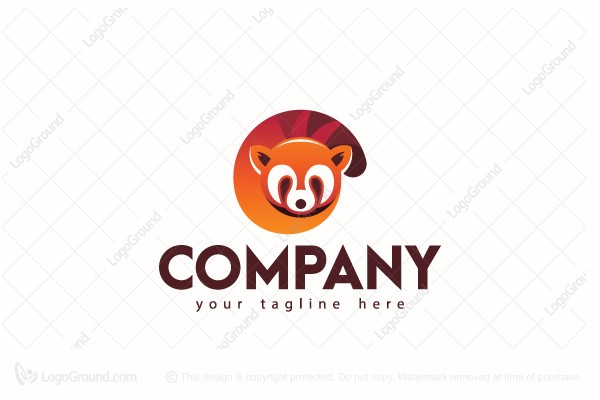 Logo for sale: Red Panda Spiral Tail Logo
