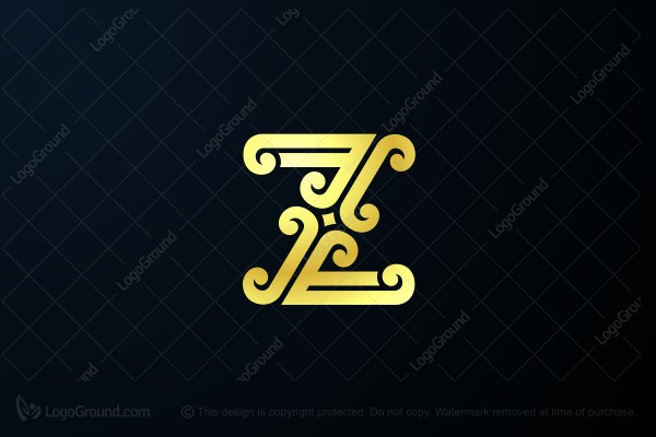 Logo for sale: Golden Retro Letter Z Logo