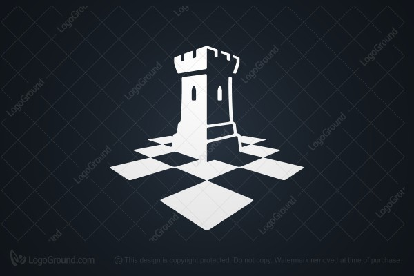 Logo for sale: Chess Rook Tower Logo