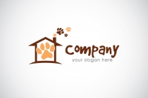 Pet House - Home - Paw Logo