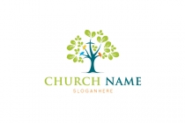 Colorful Tree Christian Logo