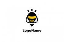 Bee Light Bulb Logo